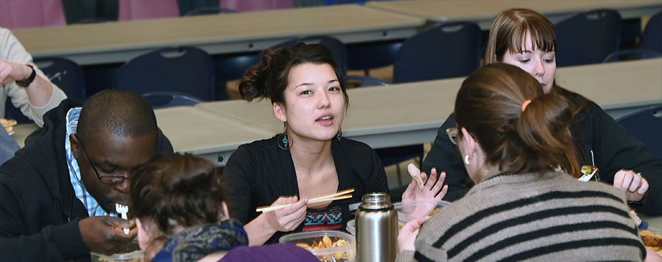 Students enjoying lunch between classes