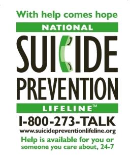 Suicide Prevent hotline 1-800-273-8255